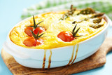 quiche with asparagus and tomato