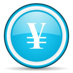 yen blue glossy icon on white background