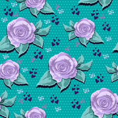 vintage pattern of lilac roses on a green background