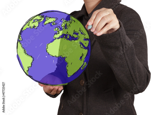 businessman hand drawing abstract globe