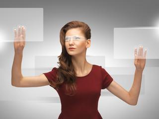 teenage girl working with virtual screen