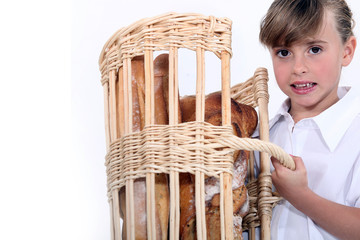 Girl with basket of bread