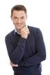 Attraktiver Mann mit Pulli und Hemd in Blau isoliert