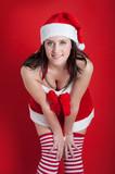 Christmas woman portrait with generous neckline. poster