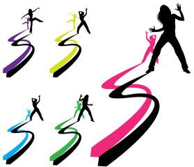 silhouette danse bicolor