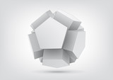 Fototapety Vector polyhedron with pentagonal extrude faces