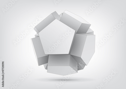 Vector polyhedron with pentagonal extrude faces
