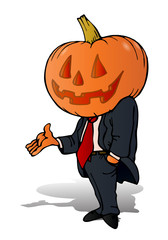 pumpkin businessman