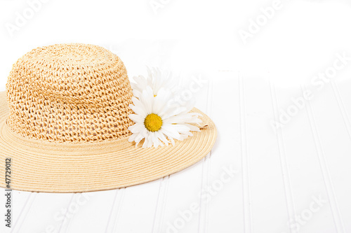 Sun hat on white background