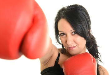 Portrait of a girl with red boxing gloves