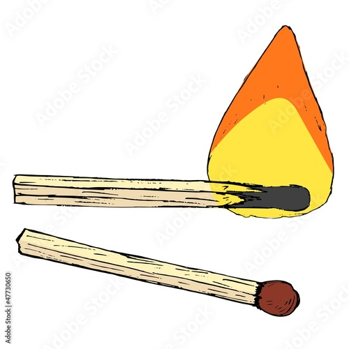 Hand drawn, vector, cartoon, sketch illustration of match sticks