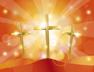 Easter Good Friday Gold Crosses Illustration
