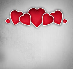 Valentines background: group of hearts over grunge background