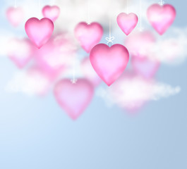 Valentine background with hanging pink glossy hearts