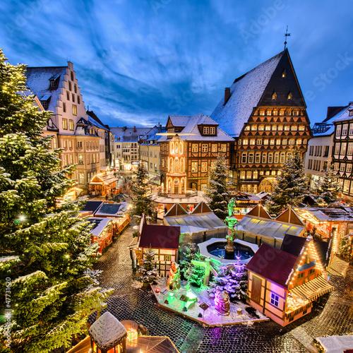Leinwanddruck Bild Weihnachtsmarkt in Hildesheim, Deutschland