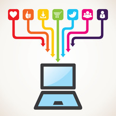 different social media icon connect with laptop