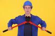Builder using bolt cutters
