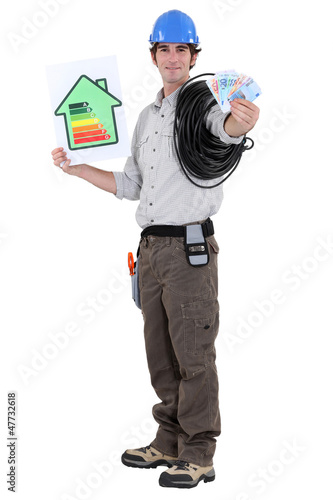 Laborer with wad of bills and energy rating sign