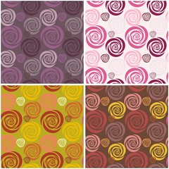 four seamless backgrounds with flowers