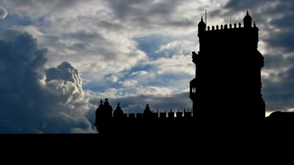 Portugal Belem tower east storm clouds