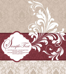 wedding damask floral card