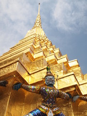 Guardian at Temple of the Emerald Buddha in Bangkok, Thailand