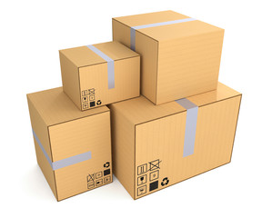 Boxes isolated on white - Packaging
