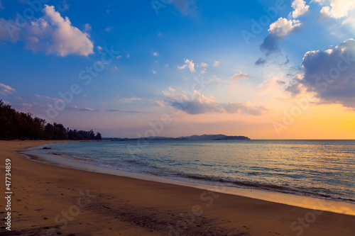 Sunset on Khao Lak beach in Thailand