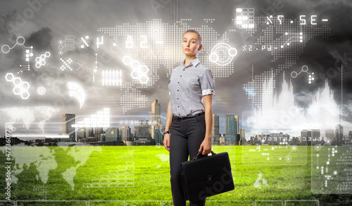 Businesswoman agaisnt virtual background