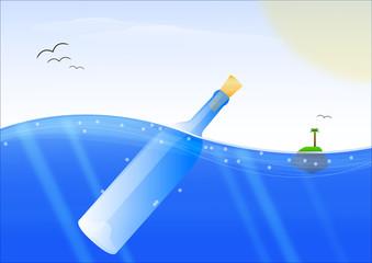 Bottiglia con messaggio sul mare vector