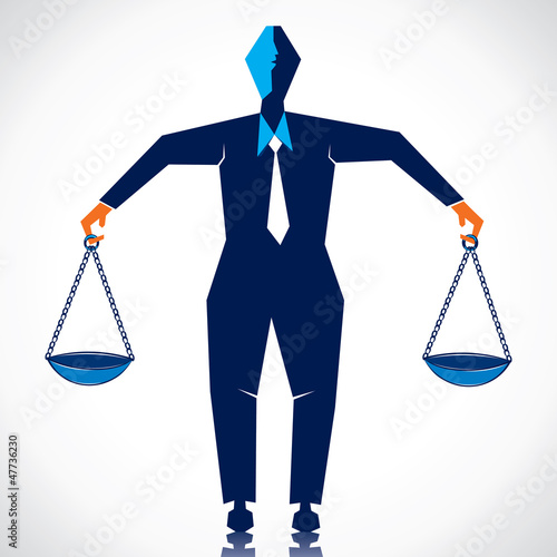 weighing on both hand stock vector