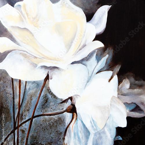 Obraz olejny: Białe róże