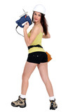 sexy woman holding a drill