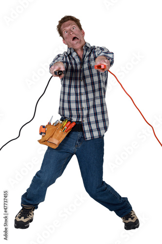 Man being electrocuted
