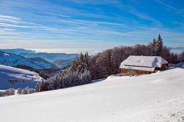 Winter, Schnee, Frost, Haus,  Berg, Halde