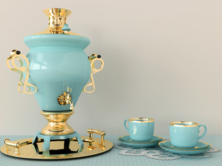 Blue samovar and cups