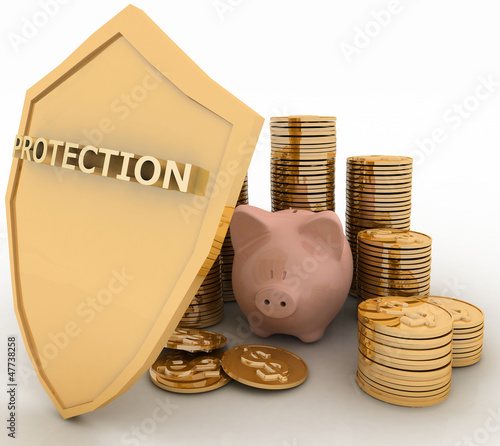protection of finance. 3d  illustration on white background