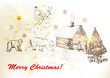 Christmas and New year greeting card with Santa, bears, house in