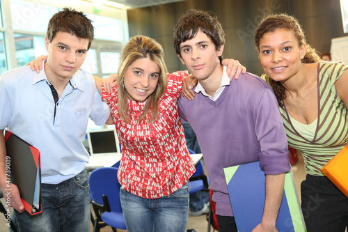 Students stood together in class
