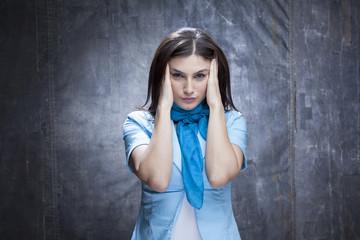 business woman suffering of headache