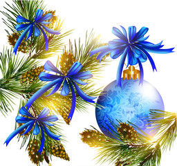 Christmas card with realistic  blue baubles, bows, cones  and fu