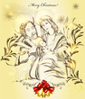 Christmas greeting card with holy family