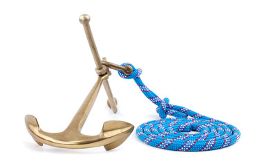 old marine anchor and blue rope isolated on white