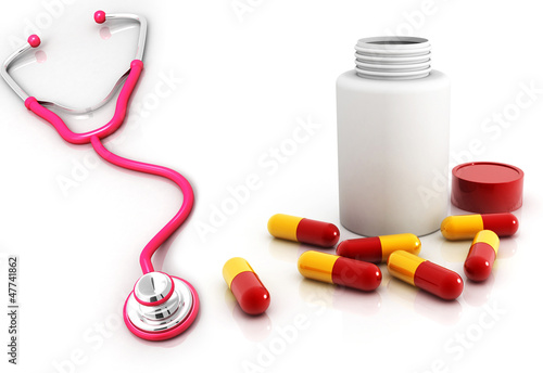 stethoscope,capsuels with bottle