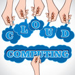 Hand showing cloud computing text  stock vector