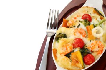 seafood and vegetable gratin