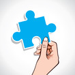 puzzle piece on hand stock vector