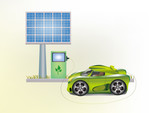 Ecology car , solar panels . poster