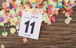 Konfetti mit Kalenderblatt auf Holz Fasching 2013 II