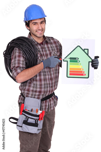 Tradesman pointing to an energy efficiency rating chart